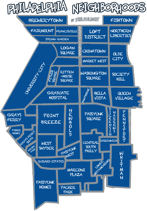 Philadelphia Neighborhood Map  Philadelight